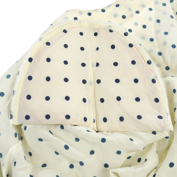 CHANEL Polka Dot CC Logos Long Sleeve Setup Tops Skirt White
