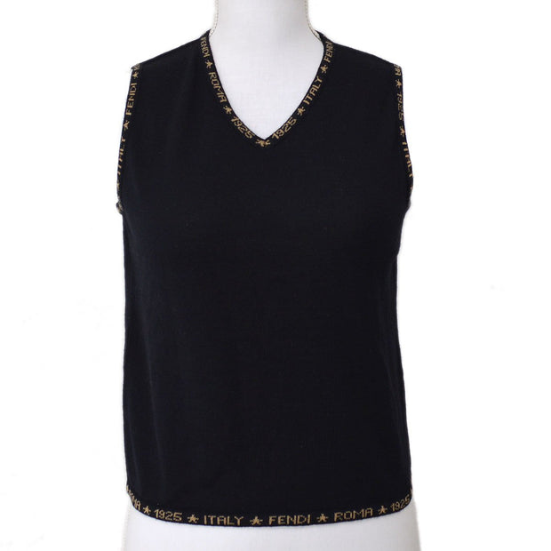 FENDI Round Neck Sleeveless Tops Brown Black
