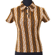 FENDI Logos Short Sleeve Tops Shirt Brown