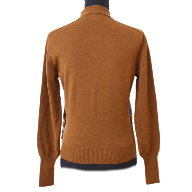 HERMES Horse Print Logos Long Sleeve Tops Brown