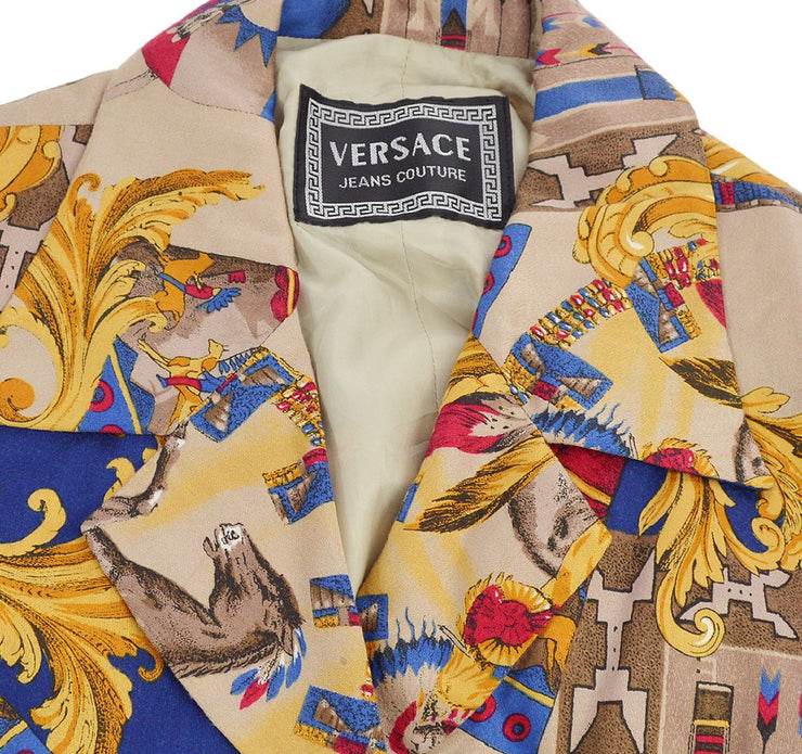 VERSACE Medusa Button Front Opening Long Sleeve Jacket Brown