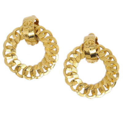 CHANEL CC Hoop Motif Earrings Clip-On Gold 96P