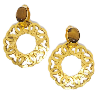 CHANEL CC Stone Hoop Motif Earrings Clip-On Gold 96A