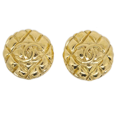 CHANEL CC Logos Button Quilted Earrings Clip-On Gold 93A