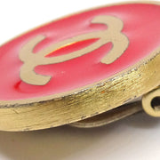 CHANEL CC Logos Button Earrings Gold Red