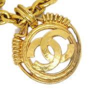 CHANEL CC Logos Medallion Charm Gold Chain Pendant Necklace