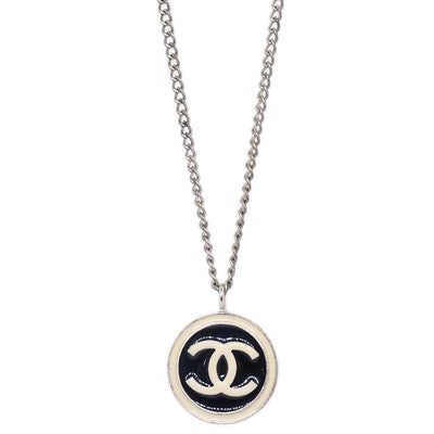 CHANEL CC Logos Round Charm Silver Chain Pendant Necklace