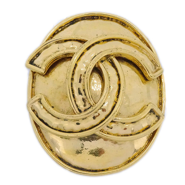 CHANEL CC Logos Brooch Pin Corsage Gold