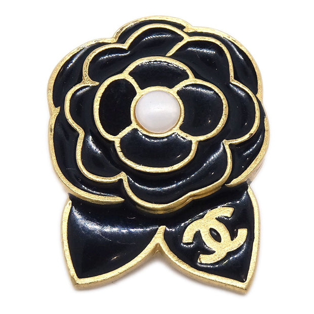 CHANEL Camellia Brooch Pin Badge Type Black 02A