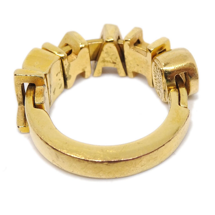 CHANEL CC Logos Charm Ring Gold Size 7