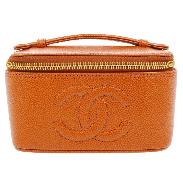 CHANEL CC Cosmetic Mini Hand Bag Vanity Orange Caviar