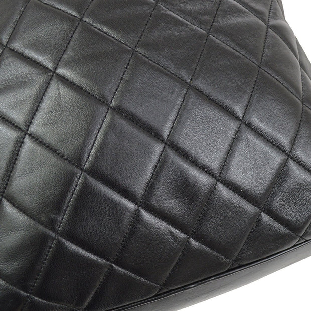 CHANEL Quilted CC Drawstring Chain Backpack Bag Black