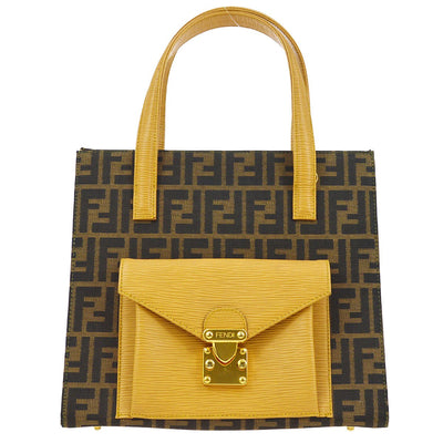 FENDI Zucca Pattern 2way Hand Bag Brown Beige