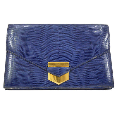 HERMES Clutch Hand Bag Blue Gold Lizard