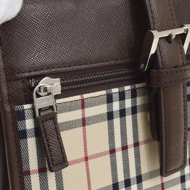 BURBERRY Classical Check Shoulder Bag Beige Brown