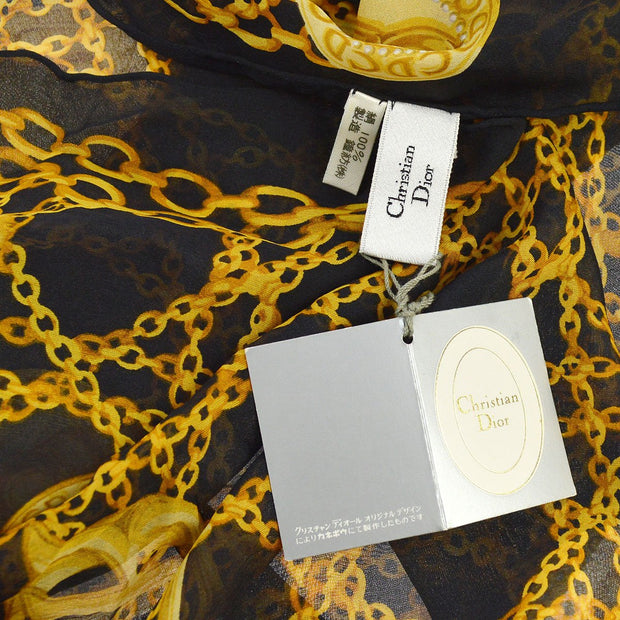 Christian Dior Chain Print Jumbo Scarf Stole Black Gold