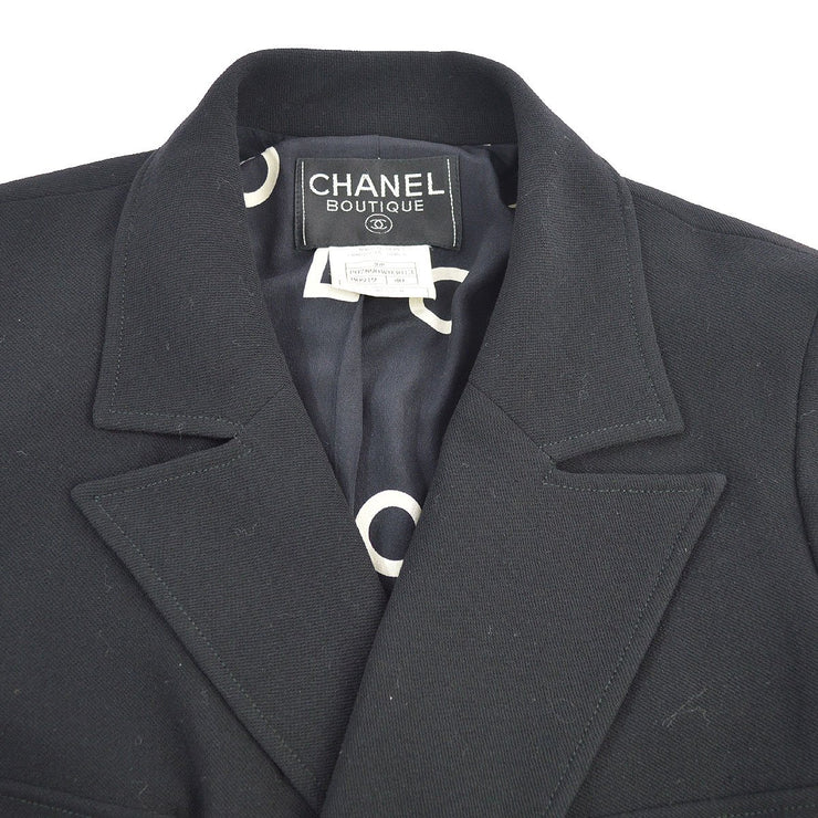 CHANEL 97P #40 Double Breasted Long Sleeve Jacket Coats Black 97P