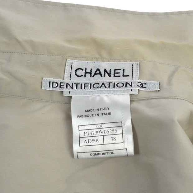 CHANEL #38 Front Opening CC Button Long Sleeve Tops Shirt Gray 00C