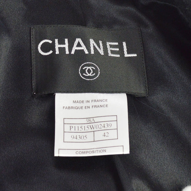 CHANEL #42 Double Breasted Long Sleeve Coat Jacket Black