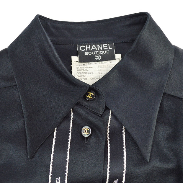 CHANEL #40 CC Long Sleeve Bow Tape Shirts Black Silk