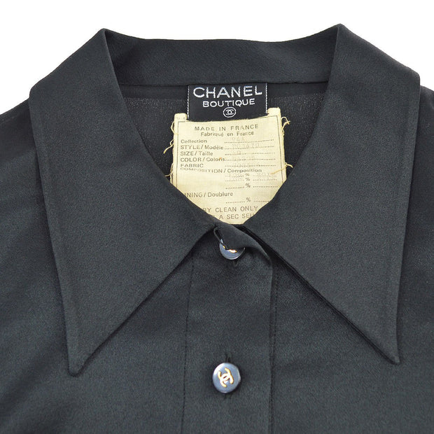 CHANEL #40 CC Logos Long Sleeve Tops Blouse Shirt Black