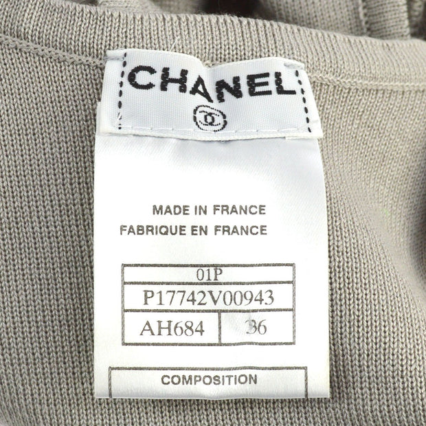 CHANEL #36 Sleeveless Knit Tops Gray 100% Cotton