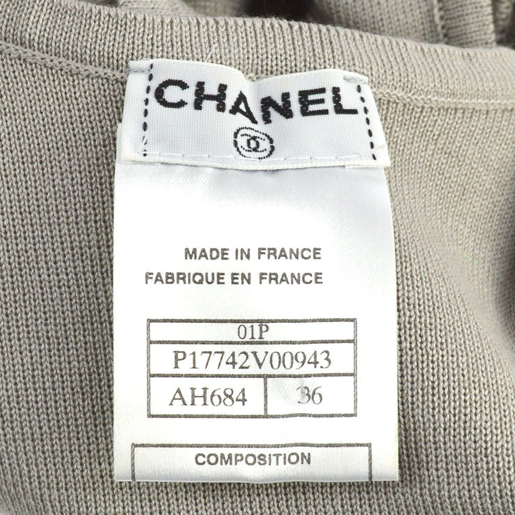 CHANEL #36 Sleeveless Knit Tops Gray 100% Cotton 01P