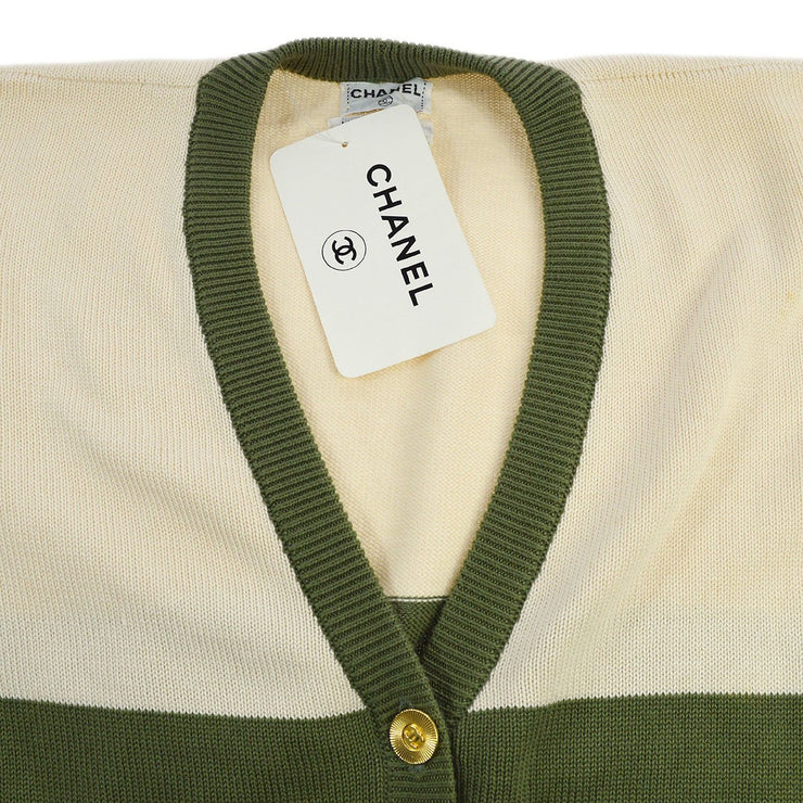 CHANEL CC Button Front Opening Long Sleeve Cardigan Khaki Ivory