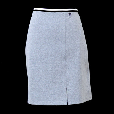 CHANEL #36 CC Logos Below The Knee Skirt Gray 98P