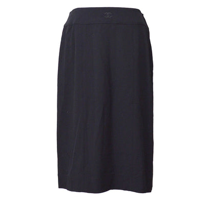 CHANEL #40 CC Logos Button Above The Knee Skirt Black 98P