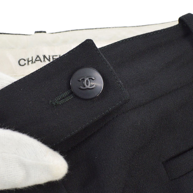 CHANEL #40 CC Logos Button Pants Black 98C