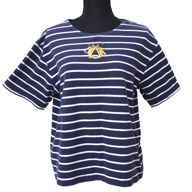 Christian Dior Sports #M Border Short Sleeve Tops T-Shirt Navy