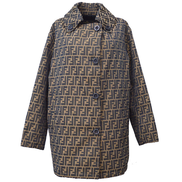 FENDI Zucca Pattern Long Sleeve Jacket Coat Black Brown