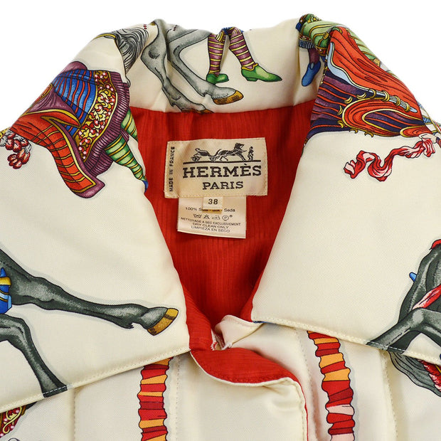 HERMES Single Breasted Long Sleeve Jacket Coat White