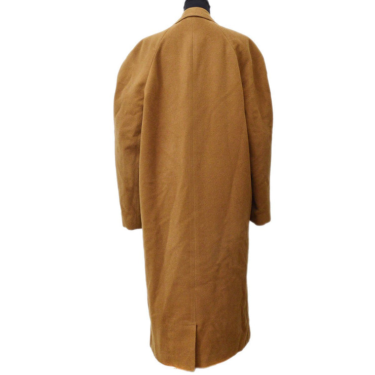 GIANNI VERSACE Single Breasted Long Sleeve Coat Jacket Brown