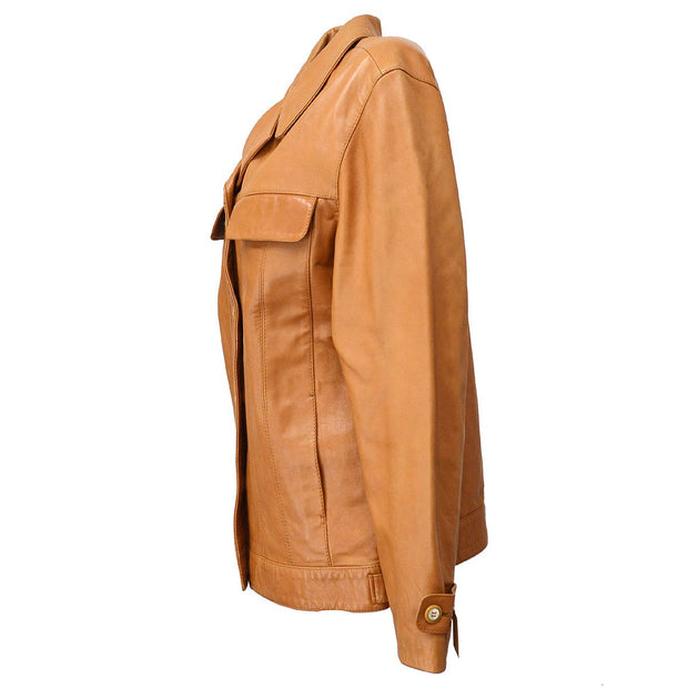 Salvatore Ferragamo Gancini Charm Long Sleeve Jacket Brown