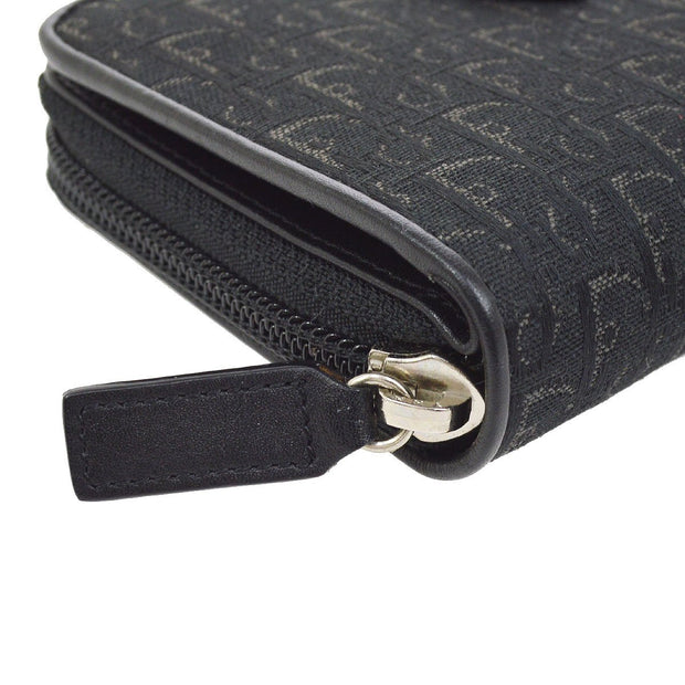 Christian Dior Trotter Pattern Bifold Wallet Purse Black