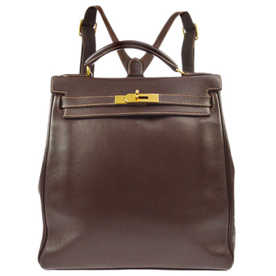 HERMES KELLY ADO MM Backpack Bag Brown Veau Greine Couchevel
