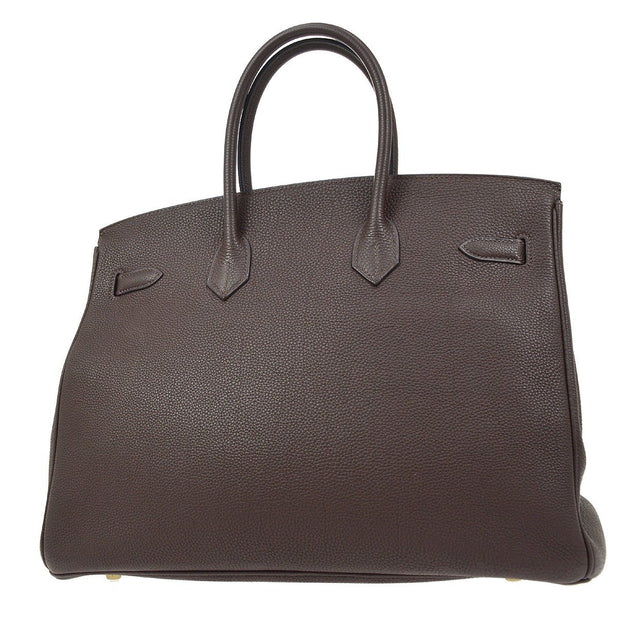 HERMES BIRKIN 35 Hand Bag Dark Brown Veau Crispe Togo
