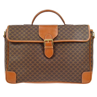 CELINE Macadam Pattern 2way Business Hand Bag Brown
