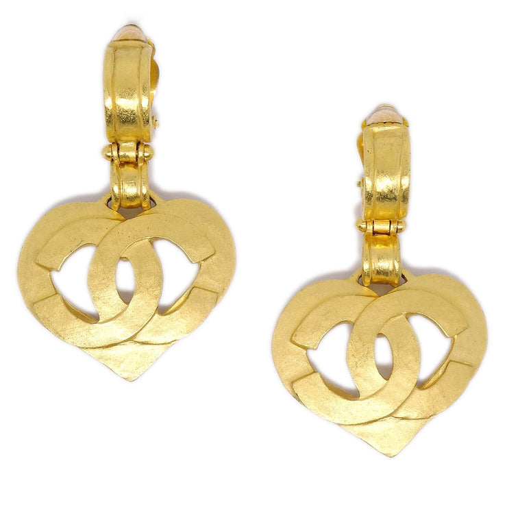 CHANEL CC Logos Heart Motif Shaking Earrings Clip-On 95P