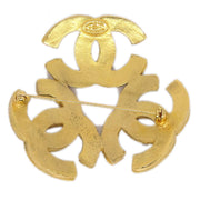 CHANEL Triple CC Charm Brooch Pin Corsage Gold 94A