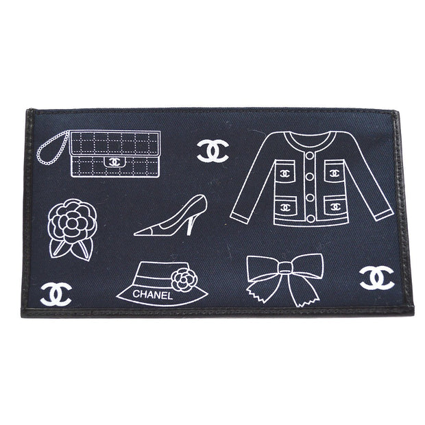 CHANEL CC Icon Clutch Hand Bag Pouch Purse Navy