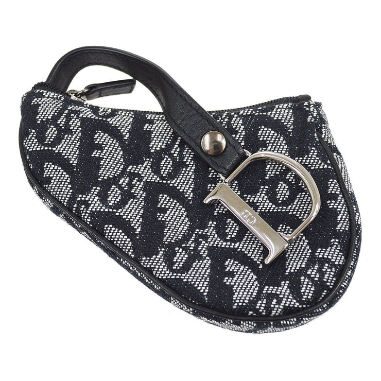 Christian Dior Trotter Saddle Mini Pouch Bag Black Gray