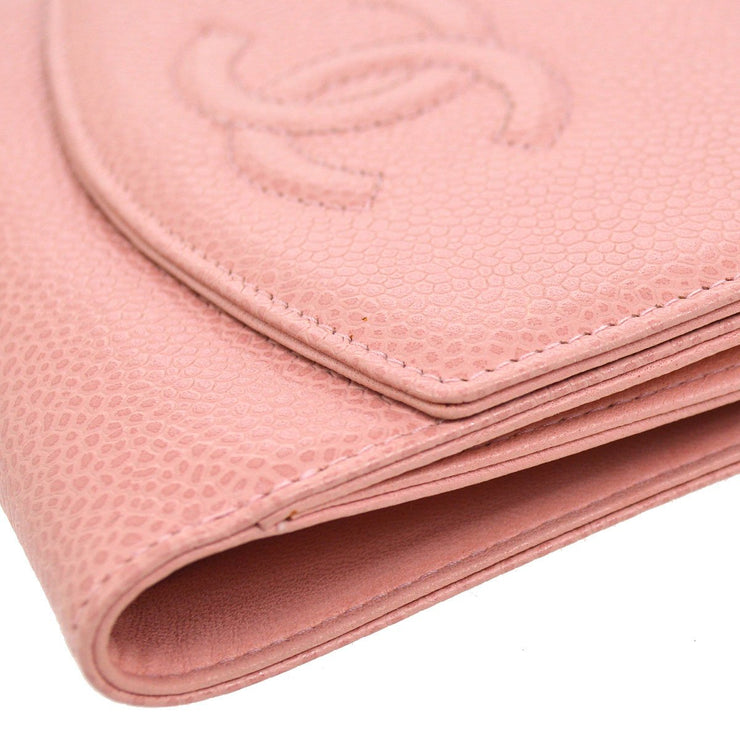 CHANEL CC Logos Bifold Wallet Purse Caviar Skin Leather Pink