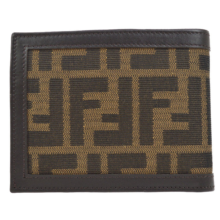 FENDI Zucca Pattern Bifold Wallet Purse Brown
