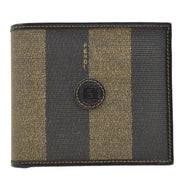 FENDI Pequin Pattern Bifold Wallet Purse Brown