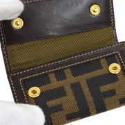 FENDI Zucca Pattern Four Hooks Key Case Brown