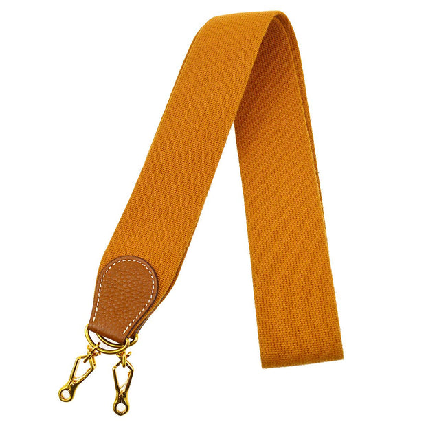 HERMES Shoulder Strap For Evelyn Brown Gold Canvas Traurillon Clemence