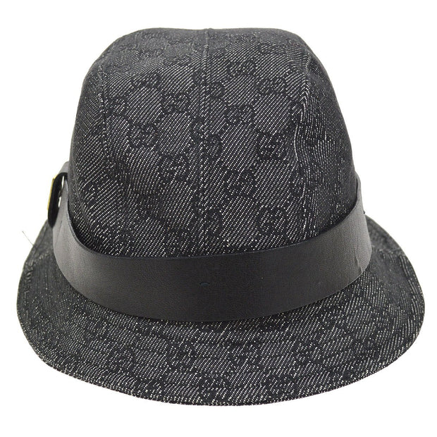 GUCCI GG Pattern Hat Black Gray #M
